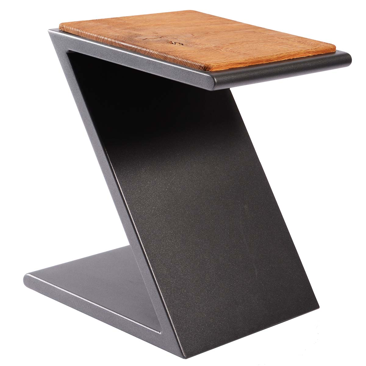 Aluminium Hocker mit Sitzfläche aus Eiche, stapelbar