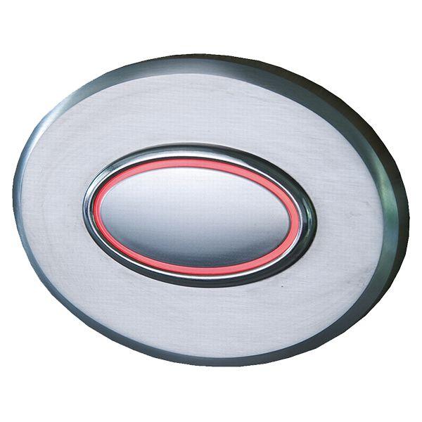Türklingel aus Edelstahl oval mit rotem Leuchtring