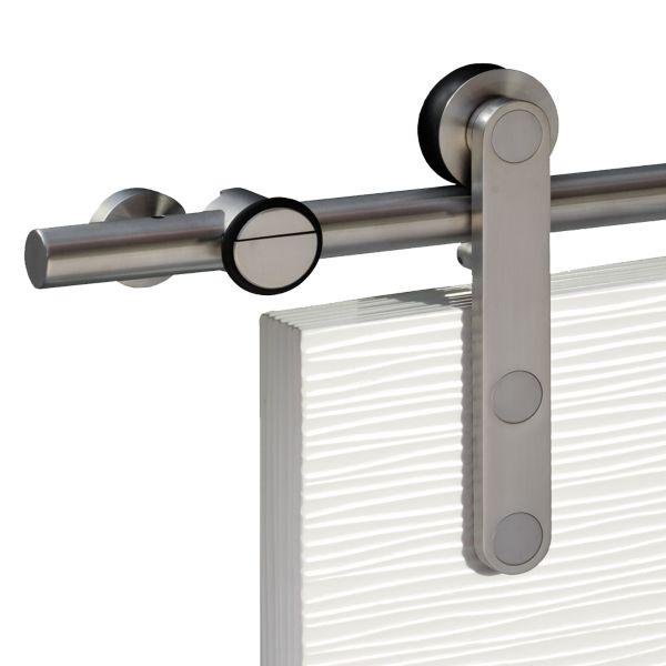 Schiebetürsysteme Edelstahl mit weißer Holztür