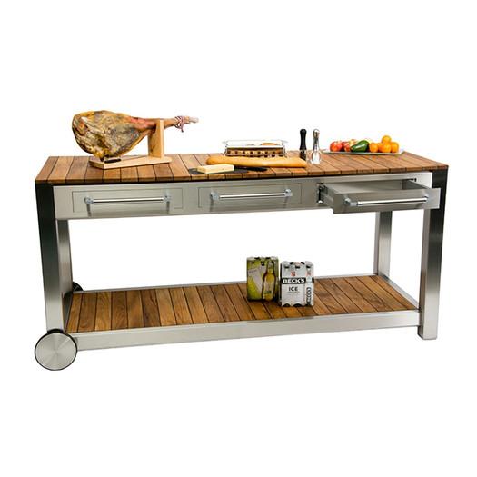 Outdoor Küche Edelstahl mit Teakholz Arbeitsfläche