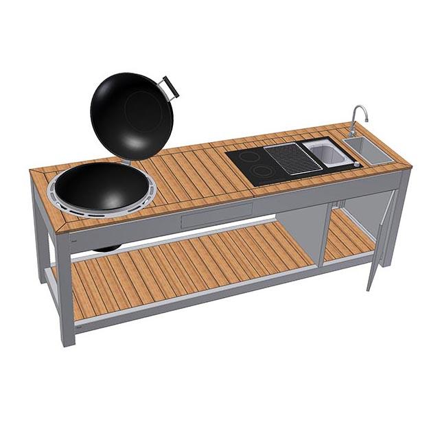 Individuelle Outdoor Küche Edelstahl 3D Zeichnung