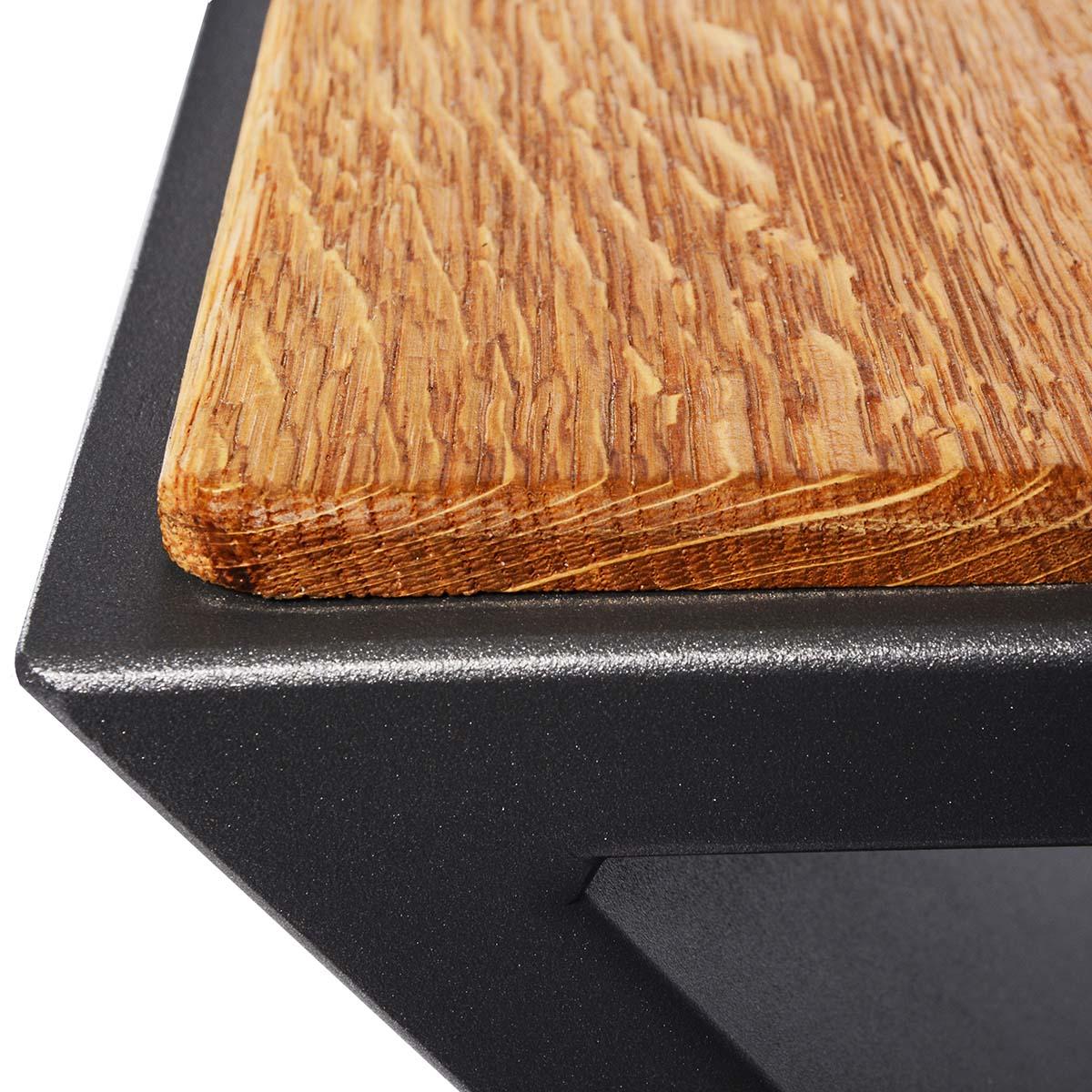 Aluminium Hocker mit Sitzfläche aus Eiche