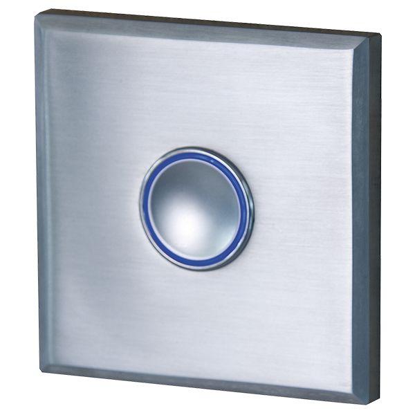 Türklingel aus Edelstahl eckig mit blauem Leuchtring