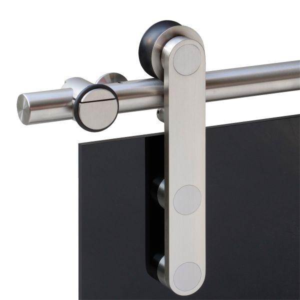 Schiebetürsysteme Edelstahl matte Ausführung mit Glastür