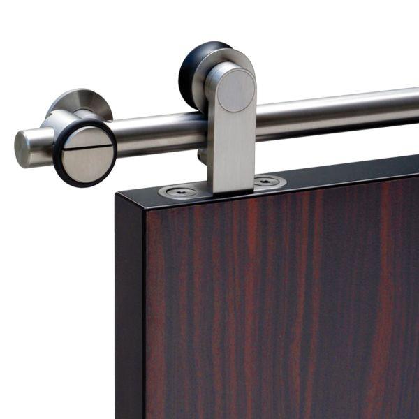 Schiebetürsystem Edelstahl mit Holztür